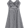 Bow Tied Cut Out Checked Midi Dress zaful