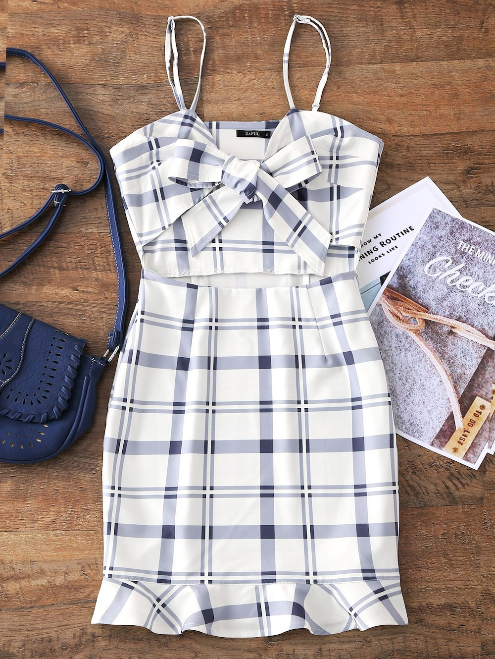 Cut Out Bowknot Plaid Mini Dress