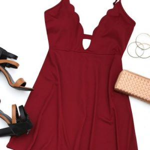 Cut Out Scalloped Mini Dress