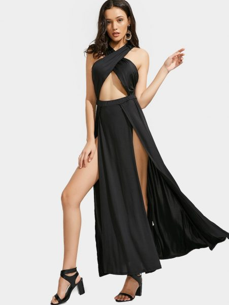 Cutout Crisscross Slit Maxi Dress