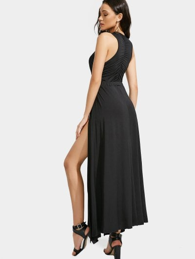 Cutout Crisscross Slit Maxi Dress zaful