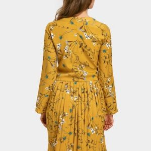 Floral Print Long Sleeve Pleated Dress Zaful