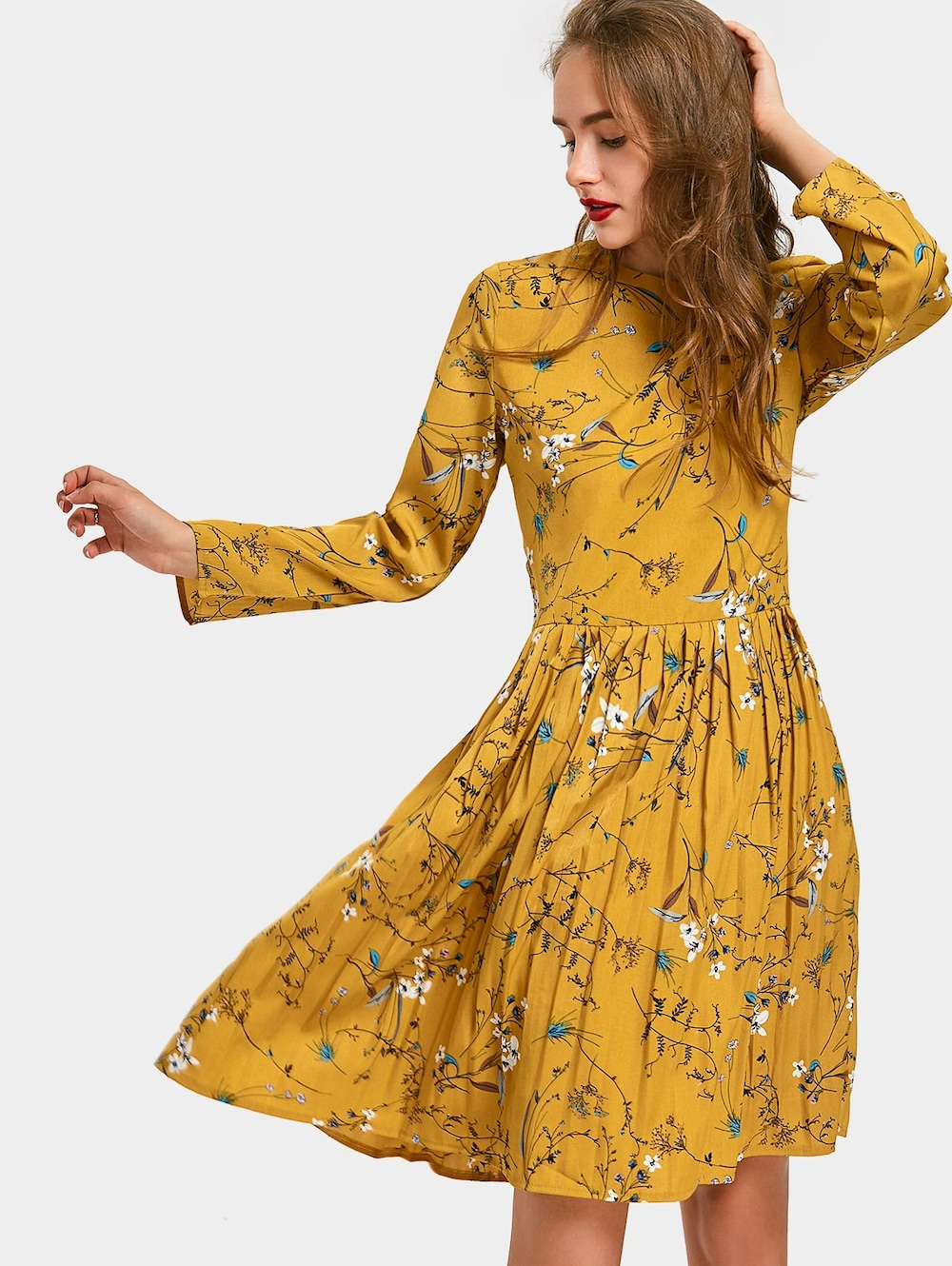 Floral Print Long Sleeve Pleated Dress