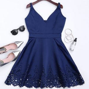 Hollow Out Strappy Flare Dress Zaful