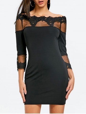 Lace Up Off The Shoulder Mini Bodycon Dress