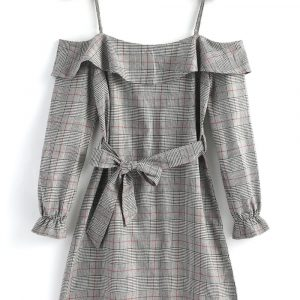 Plaid Ruffle Cold Shoulder Mini Dress od Zaful