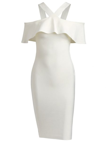 V Neck Flounce Hem Bandage Dress