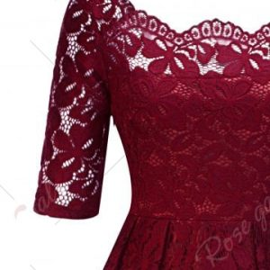Vintage Lace Party Pin Up Dress - Wine Red Rosegal