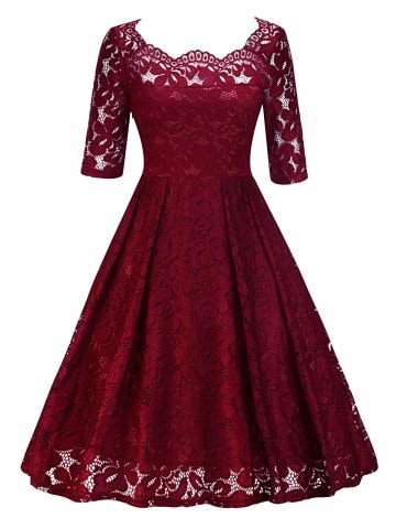 Vintage Lace Party Pin Up Dress - Wine Red