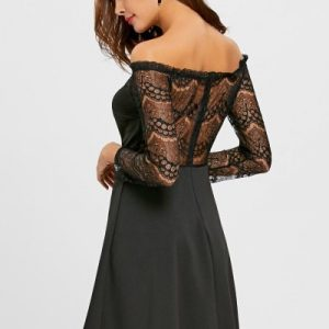 Off The Shoulder Lace Panel Flare Dress