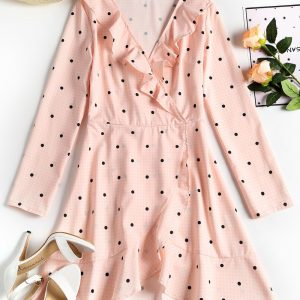 Plunging Neck Ruffles Polka Dot Dress
